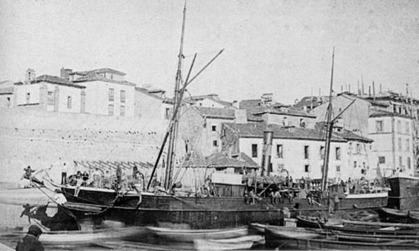 Dársena y capilla de la Soledad (1868)
