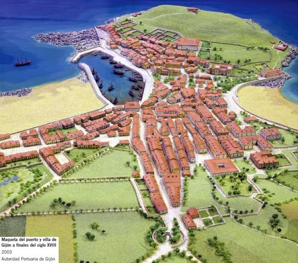maqueta del puerto y villa de Gijón a finales del siglo XVIII