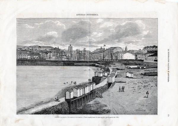 Gijón: La playa y el espigón de Pando