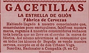 Cerveza la estrella falsificacion 10-7-1911