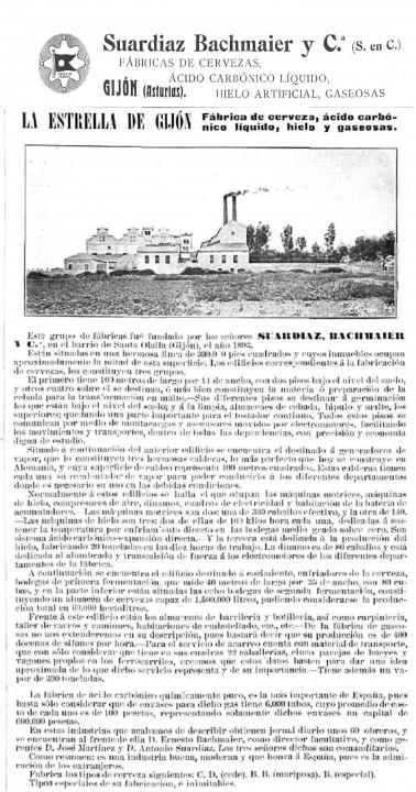 LA ILUSTRACIÓN ESPAÑOLA Y AMERICANA 15 JULIO 1912 Cerveza la Estrella de Gijón