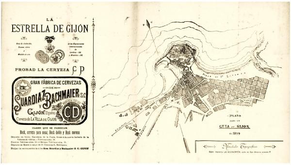 Publicidad de La Estrella y plano de Gijón 1899