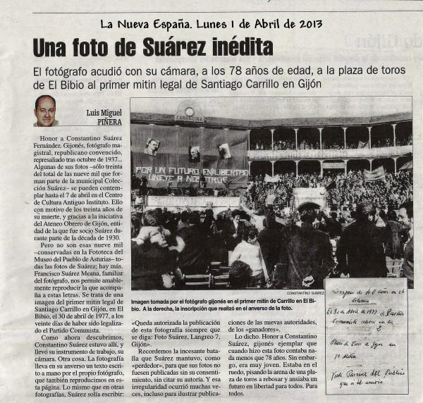 Foto Suárez. La Nueva España. Lunes 1-04-2013
