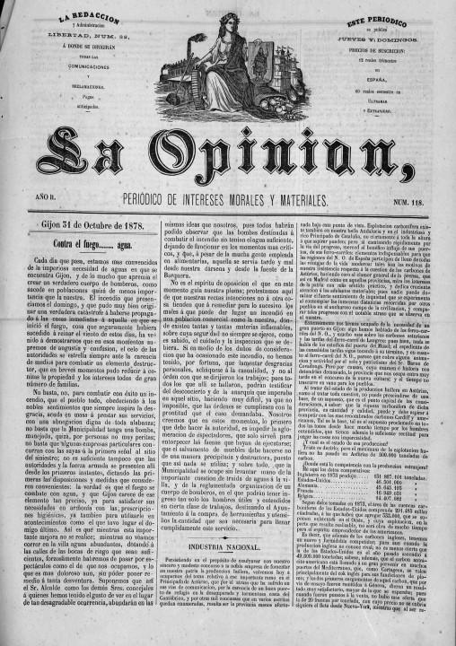 La Opinión  periódico de intereses morales y materiales Año II Número 118 - 1878 octubre 31