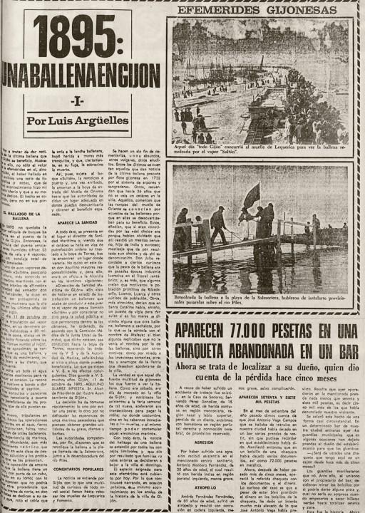 Ballena en gijon 1895. El Comercio15-2-1970