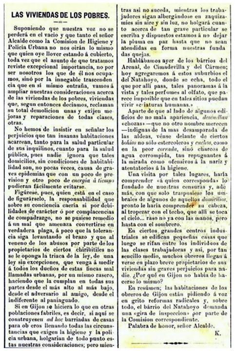 Las viviendas de los pobres. Diario El Comercio.30-10-1895