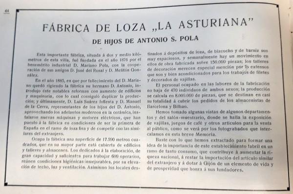 Fabrica de loza La Asturiana 1911. Peinado.Publicidad