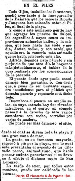 Diario El Noroeste  inauguración pasarela Piles 7 agosto 1901