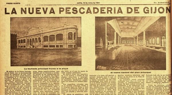 Noticia inauguración pescaderia 13-03-1930. El Comercio