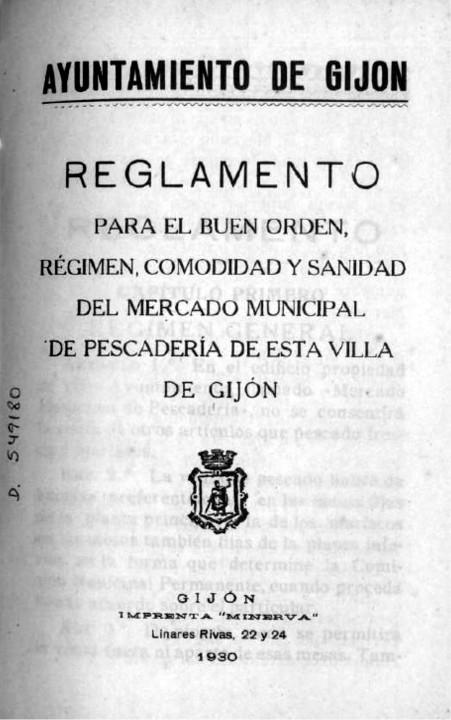 Reglamento Pescadería 1930