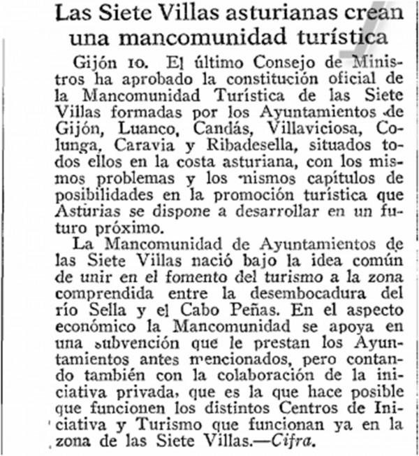 11 Diciembre 1963 mancomunidad 7 Villas