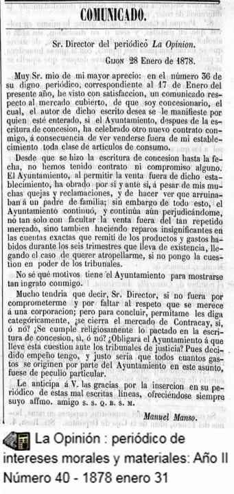 Comunicado, Queja de Manso31 Enero 1878