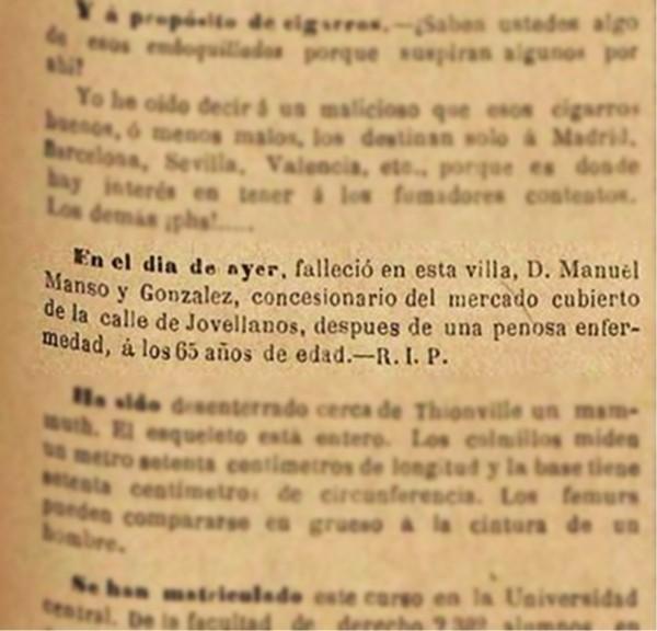 Defunción Manuel Manso el Comercio 11-11-1882