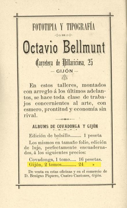 verano 1894 publicidad Bellmunt 2 tomos gijón aristico