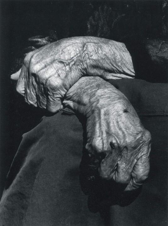 La fotografía de estas manos de una campesina de El Condáu Laviana  Llaviana es de Eladio Begega